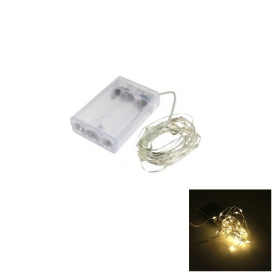 2M 20-LED Silver Wire Strip Light Battery Operated Fairy Lights Garlands Christmas Holiday Wedding P